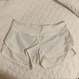 White Lululemon Speed-Up Shorts